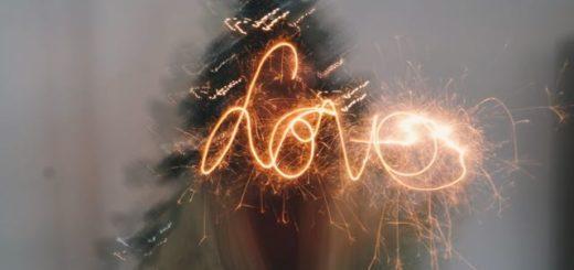 love written in sparkling light