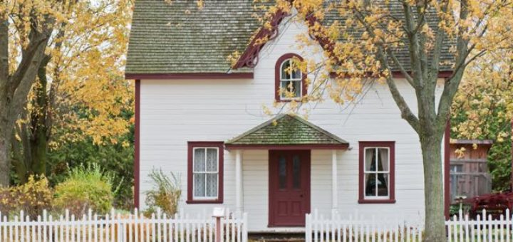 colonial house in autumn