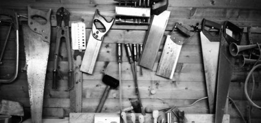 carpentry tools on wooden table