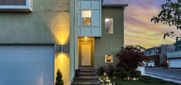 modern house at sundown