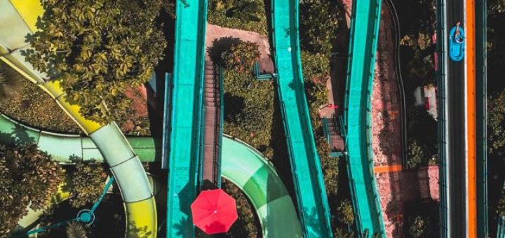 waterpark slides in a tropical climat
