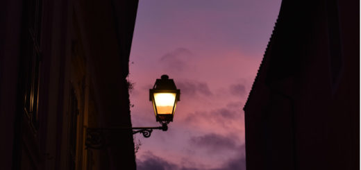 old street light with purple sky