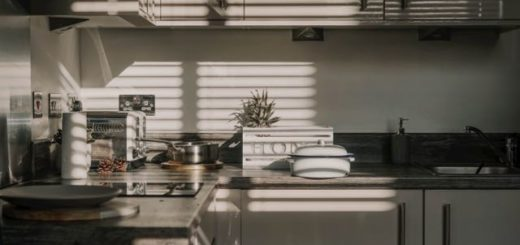 kitchen in early moring with the sun filtering in