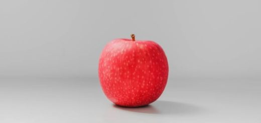 red apple on a gray background